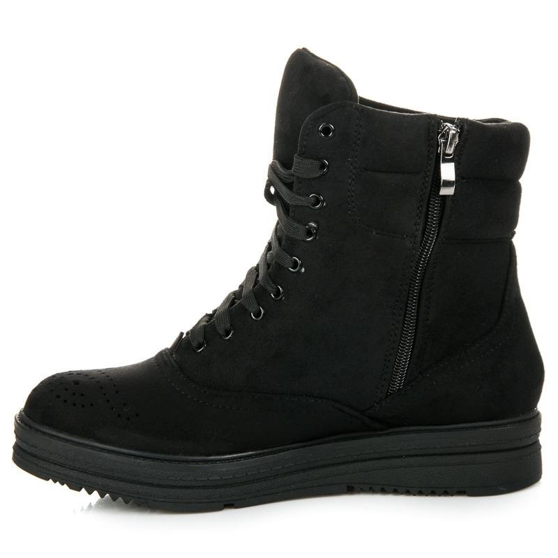 a3bbc4f949f92 Dámske čierne členkové topánky na šnurovanie - 2115-1B | dawien.sk