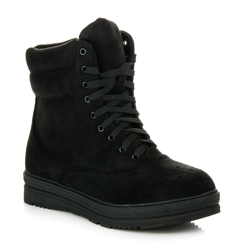 55adf327fdae4 Dámske čierne členkové topánky na šnurovanie - 2115-1B | dawien.sk