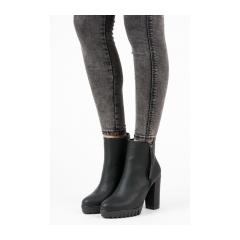8d3f883335fe4 Dámske čierne členkové topánky na platforme - 3144-1B
