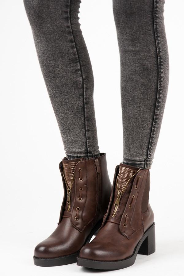 316becb7ee Dámske hnedé členkové topánky na podpätku - 2890BR