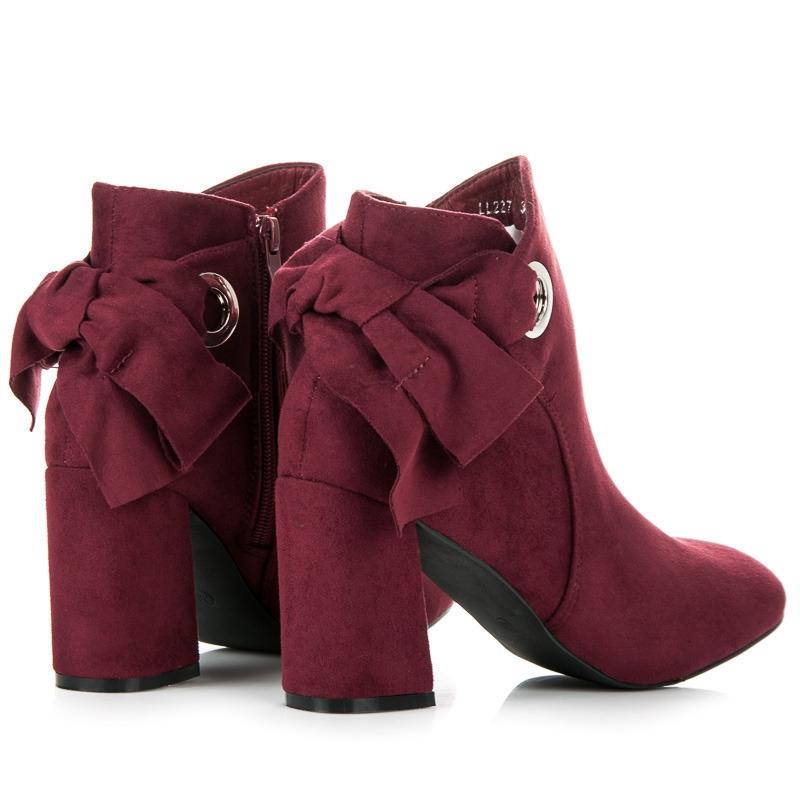 e03e874030 Dámske bordové členkové topánky s mašlou - LL227R