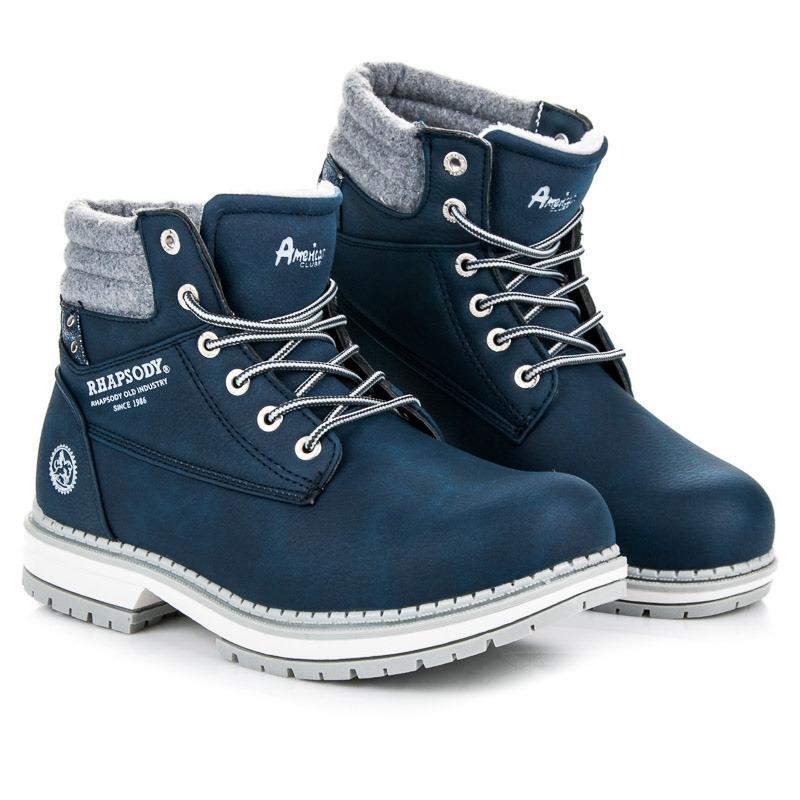 Dámske modré členkové topánky na zimu - 608124-W-1N  b7365c2e32