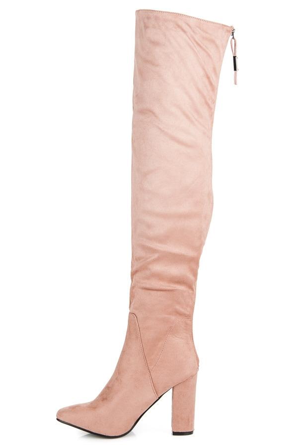 cfef3afb4 Dámske ružové semišové čižmy na podpätku - C76DK.P | dawien.sk