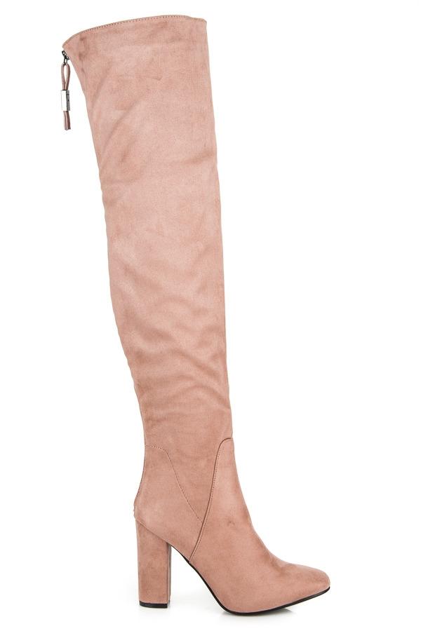 5d20075e4 Dámske ružové semišové čižmy na podpätku - C76DK.P | dawien.sk