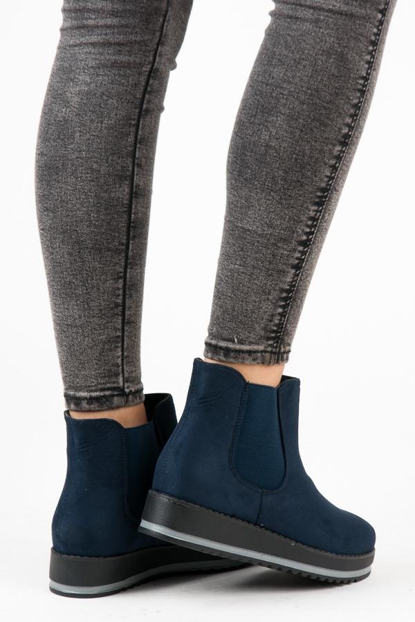 533c835500 Dámske modré členkové topánky na platforme - K-105BL