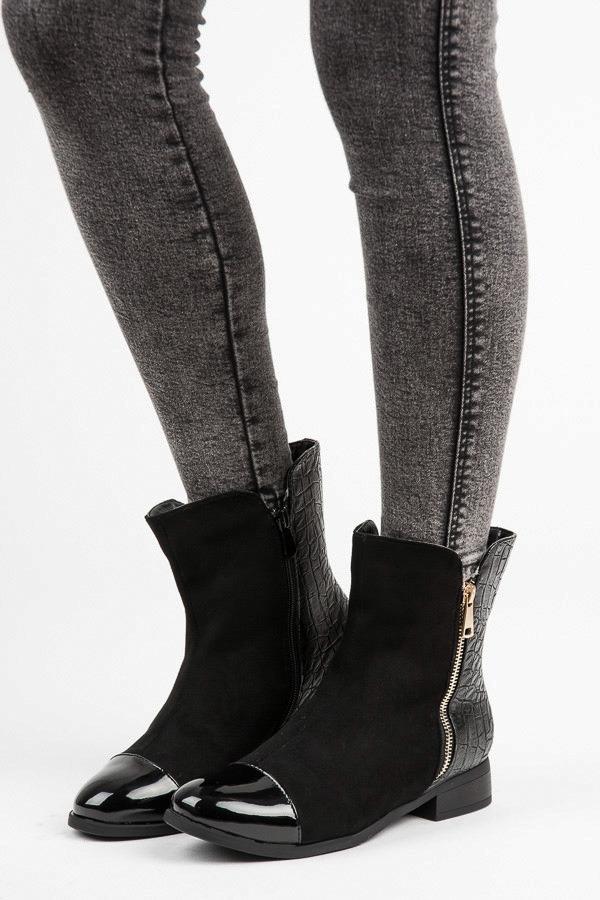 e5e2010ec1e4 Elegantné dámske čierne členkové topánky na zips - HQ816B