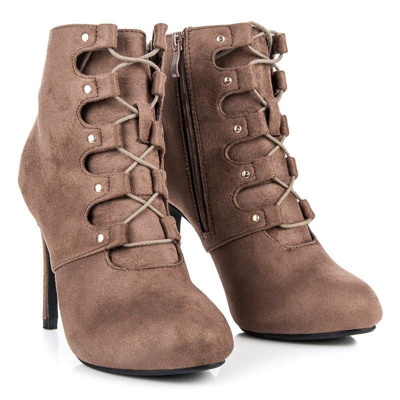 2962754116 Dámske hnedé členkové topánky na ihlovom podpätku - 1609-212TA ...