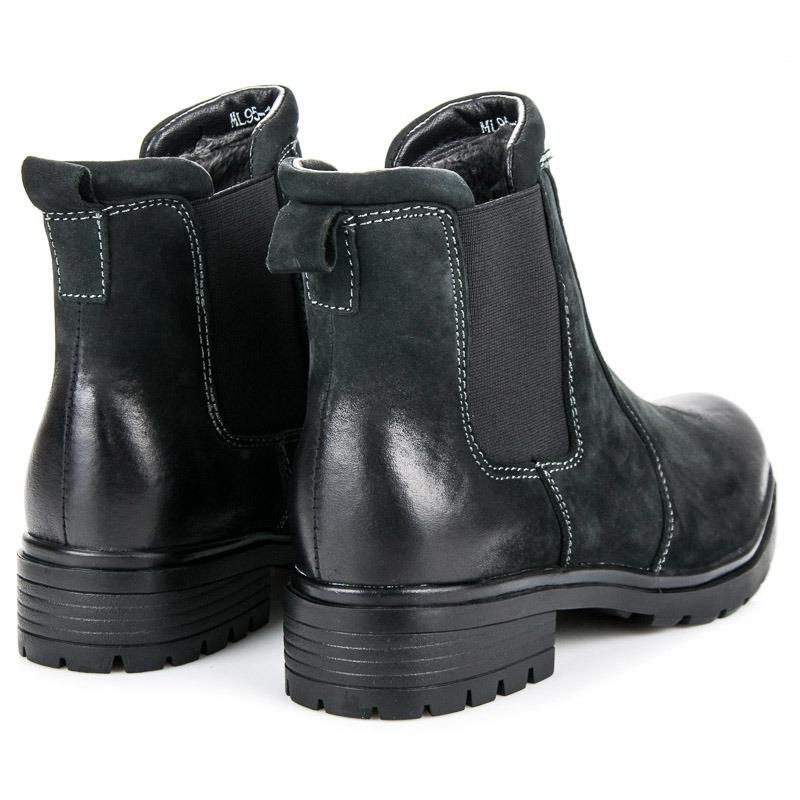 c5a927b600 Dámske čierne kožené zateplené členkové topánky - NL95-1B