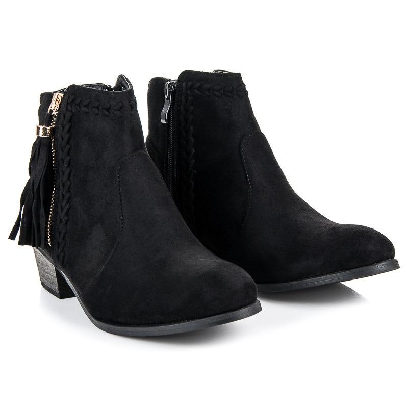 7c791c597f Módne dámske čierne členové topánky so strapcami - LB-252B