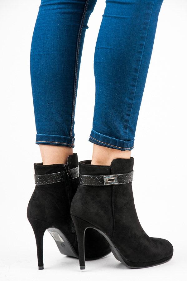 Dámske čierne semišové topánky na podpätku - 1609-211B  e9004a23747