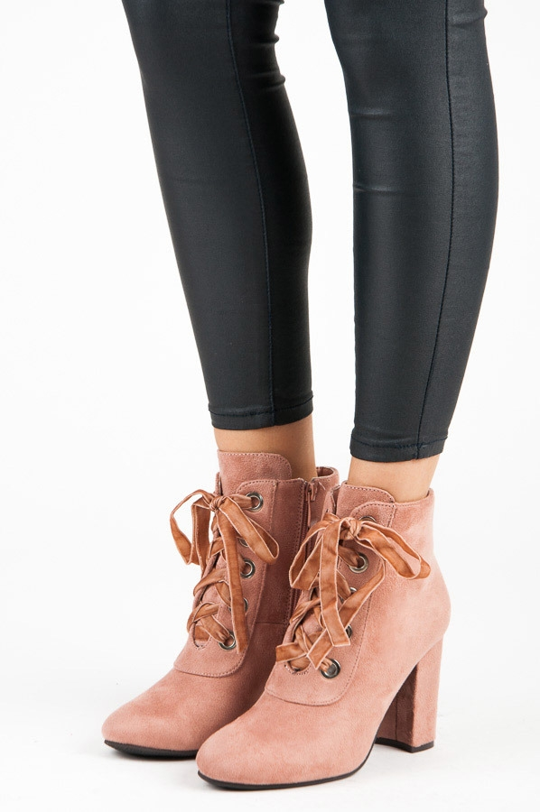 Dámske ružové členkové topánky so šnurovaním a zipsom - 168-138P ... ed181ca74a
