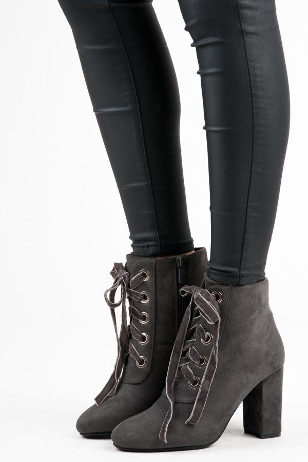 2459443c0a9f Dámske šedé členkové topánky so šnurovaním a zipsom - 168-138G ...