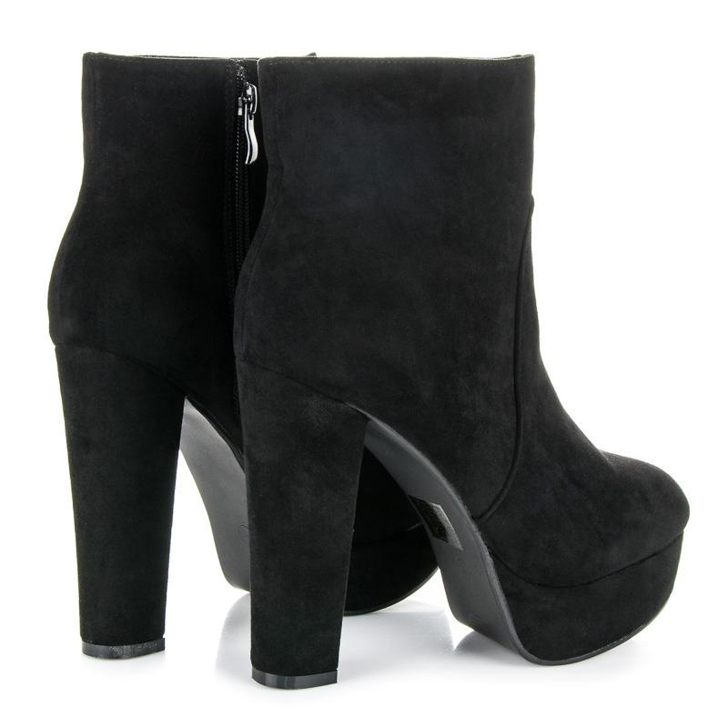 fd206d3308 Dámske čierne semišové členkové topánky na platforme - 3132-1B ...