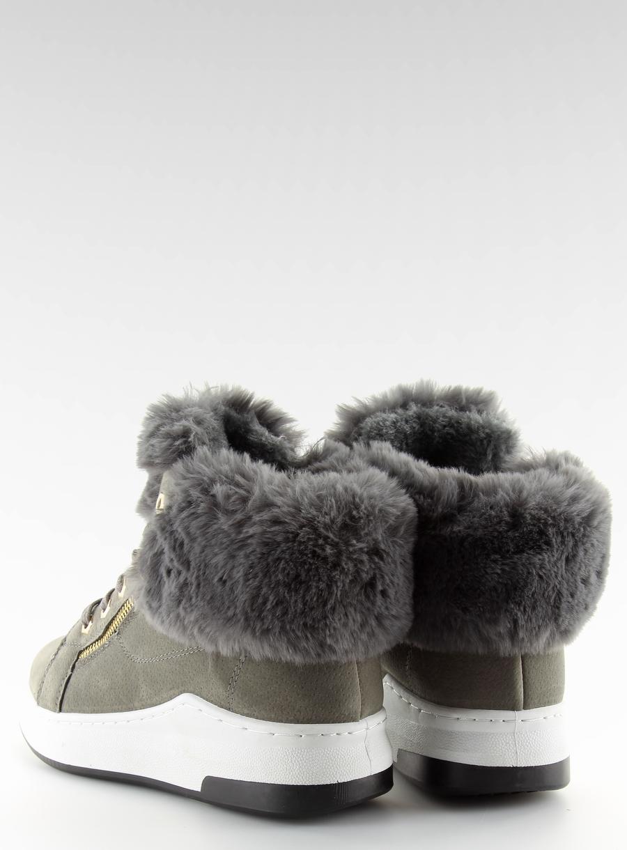 Originálne dámske šedé zateplené tenisky - 16-529  4b2c445d788