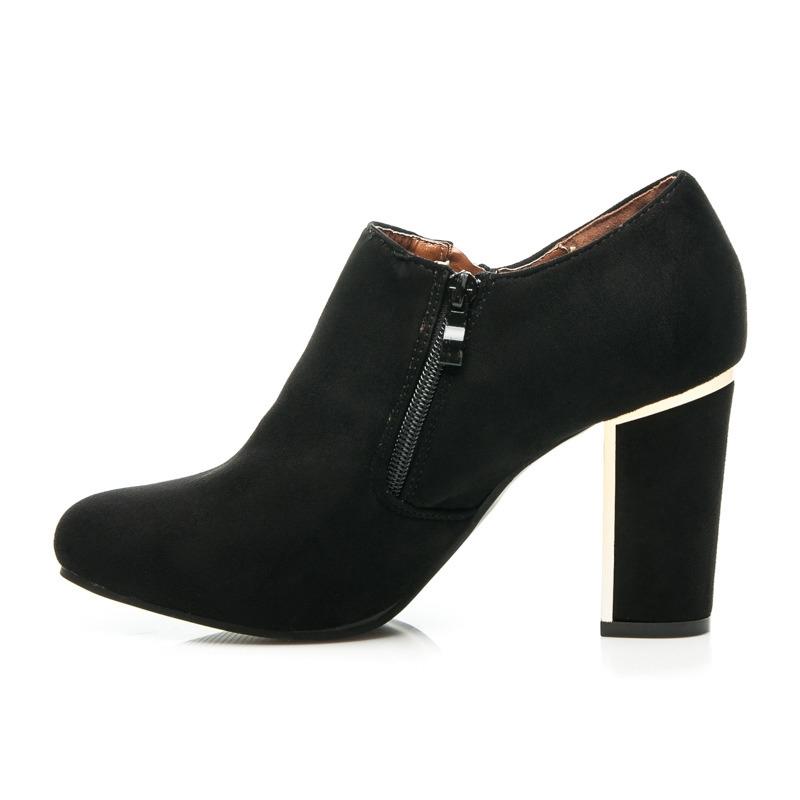 40afc64099 Elegantné dámske čierne členkové topánky - Y-20B