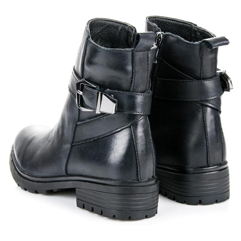 a36ffd7cfb Dámske čierne kožené členkové topánky - NL100-1A-B