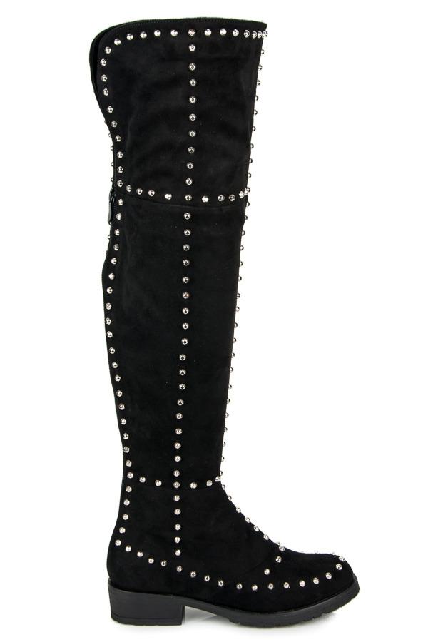 Dámske čierne čižmy nad kolená na nízkom podpätku - G5109B  c0154839663