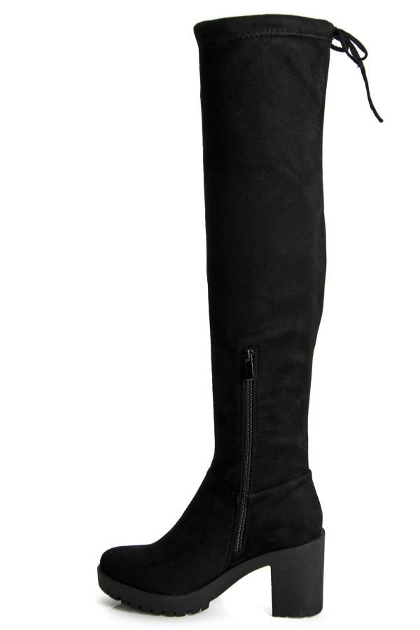 Dámske čierne semišové vysoké čižmy na platforme - 1354-1B  13bb88bfaea