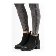 239b5e953 Dámske čierne kožené zateplené členkové topánky - NL105-1B