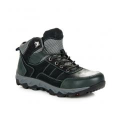 Pánske čierne kožené trekingové topánky  - BD161346-4B