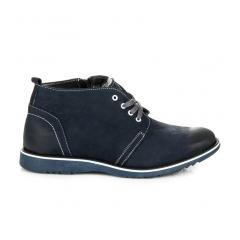 Pánske modré kožené členkové topánky - 0222N