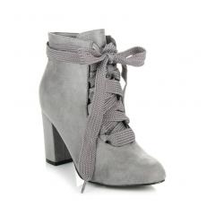 Dámske šedé členkové topánky s viazaním - 8304-5G