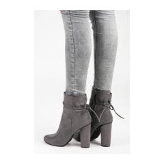 Dámske šedé semišové členkové topánky - 9070-6D.G