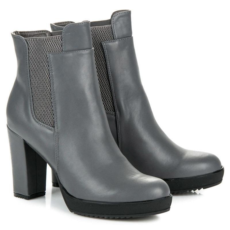 f0bc8920ff Vysoké dámske šedé členkové topánky na platforme - 3107-5G