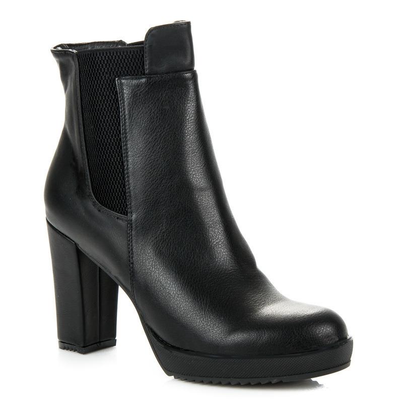 1f53840c183b Vysoké dámske čierne členkové topánky na platforme - 3107-1A-B ...