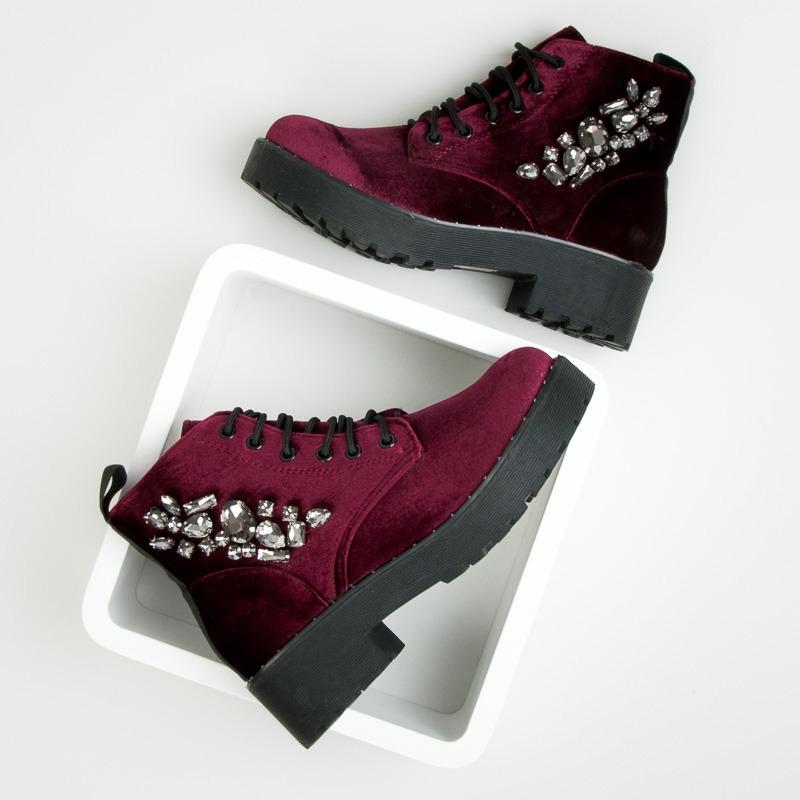 Dámske bordové velúrové členkové topánky s kamienkami - 8312-42WI ... 9fc9a2d0afe