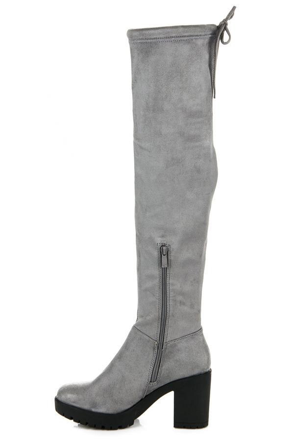 50c7f796f6 Dámske šedé čižmy na stĺpcovom podpätku - 1354-5G