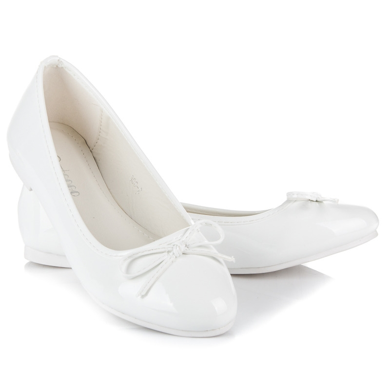 546ed9d8f Dámske biele balerínky s mašľou - 306-2W | dawien.sk