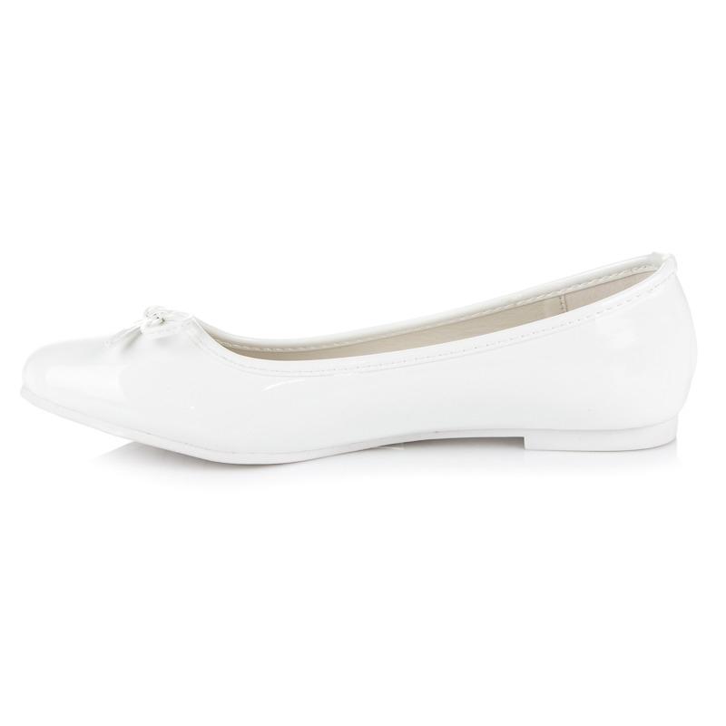 195c7b6200db Dámske biele balerínky s mašľou - 306-2W