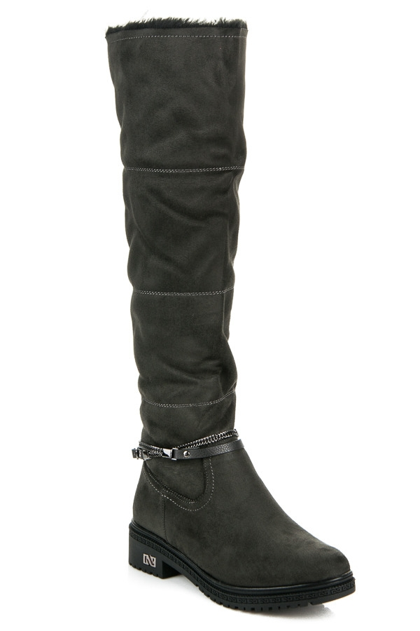 Dámske šedé vysoké čižmy s kožúškom na platforme - Q01G  66a3bbabc85