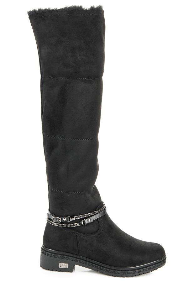 ad1f917d0564 Dámske čierne vysoké čižmy s kožúškom na platforme - Q01B