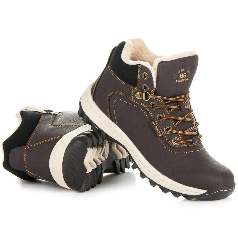 53f3dd1a5039 Pánske hnedé zateplené trekingové topánky - A6445DK.BR