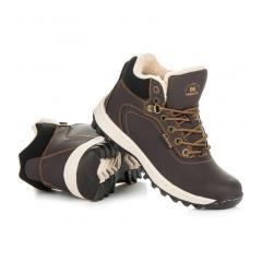 Pánske hnedé zateplené trekingové topánky - A6445DK.BR