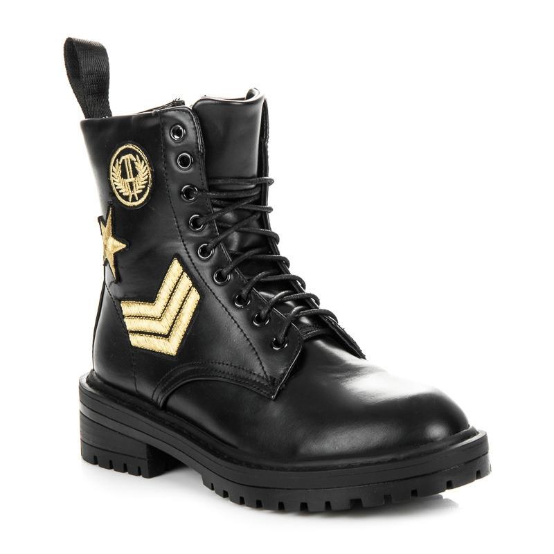 a160c20bf2d2 Dámske čierne vojenské workery - 8338-1B