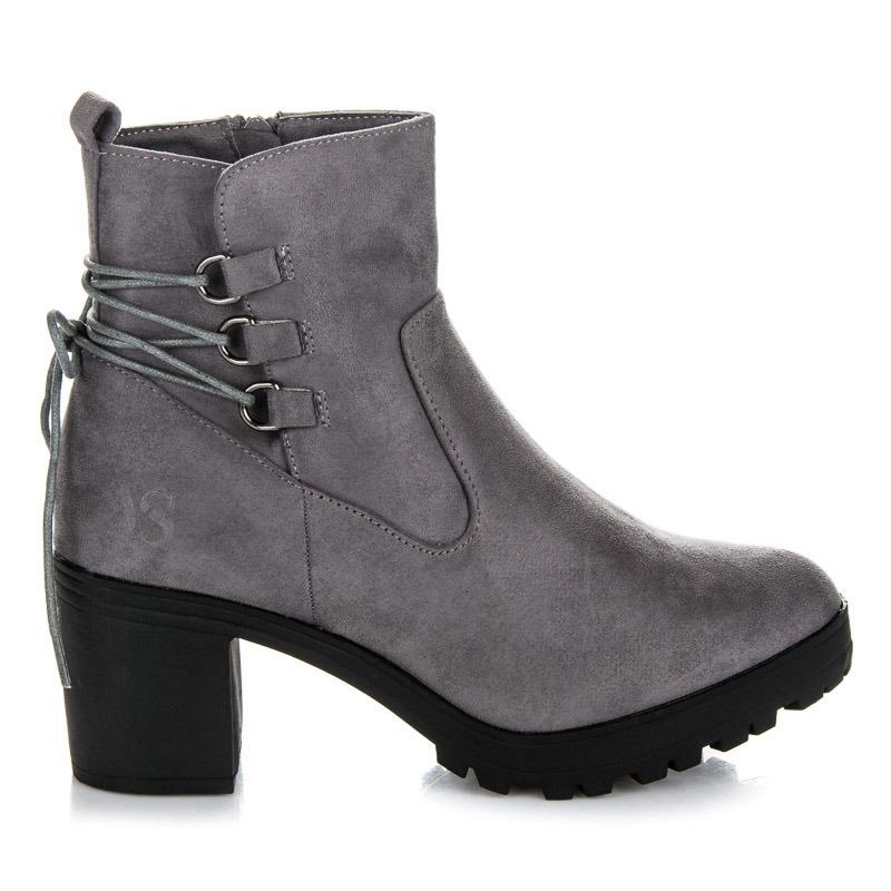 6904afd9908d5 Dámske šedé členkové topánky na platforme - 2105-5G | dawien.sk