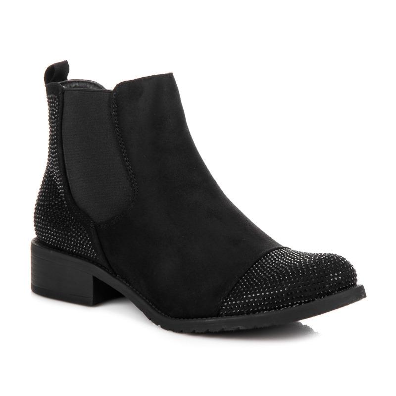 f0aedb457793 Dámske čierne semišové členkové topánky s kamienkami - 6016-PA-B ...