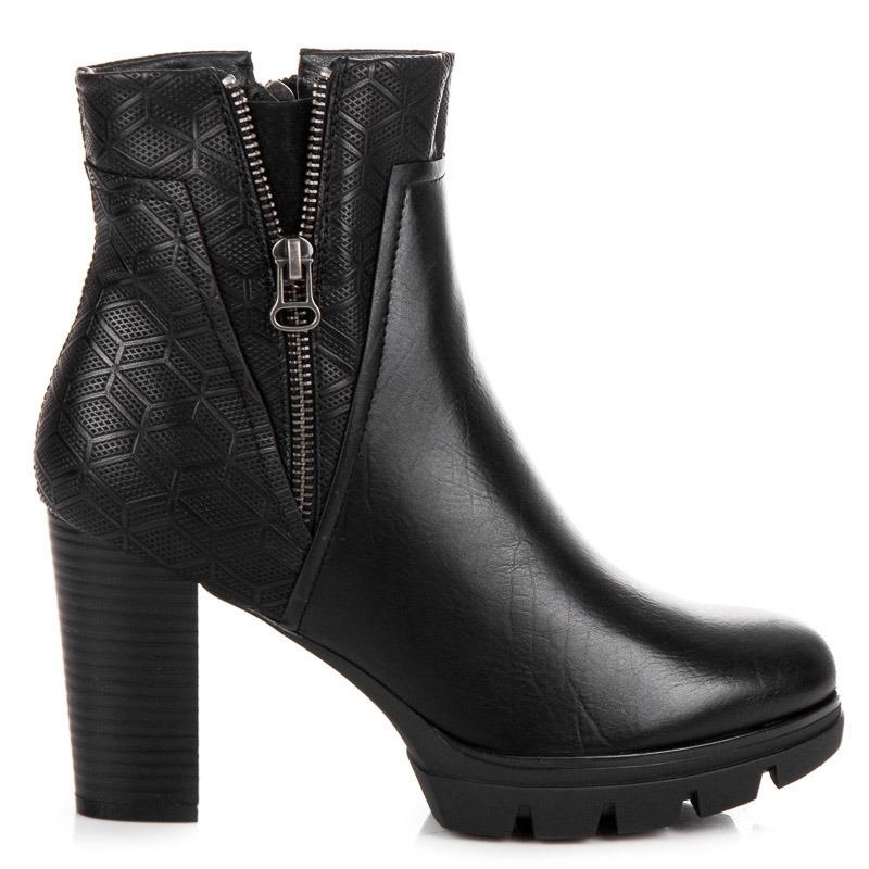 Pohodlné dámske čierne členkové topánky na platforme - A159B  1a4a658dee8