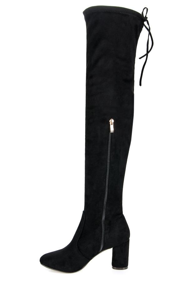 2f8786826a Dámske čierne vysoké semišové čižmy - XK-0062B