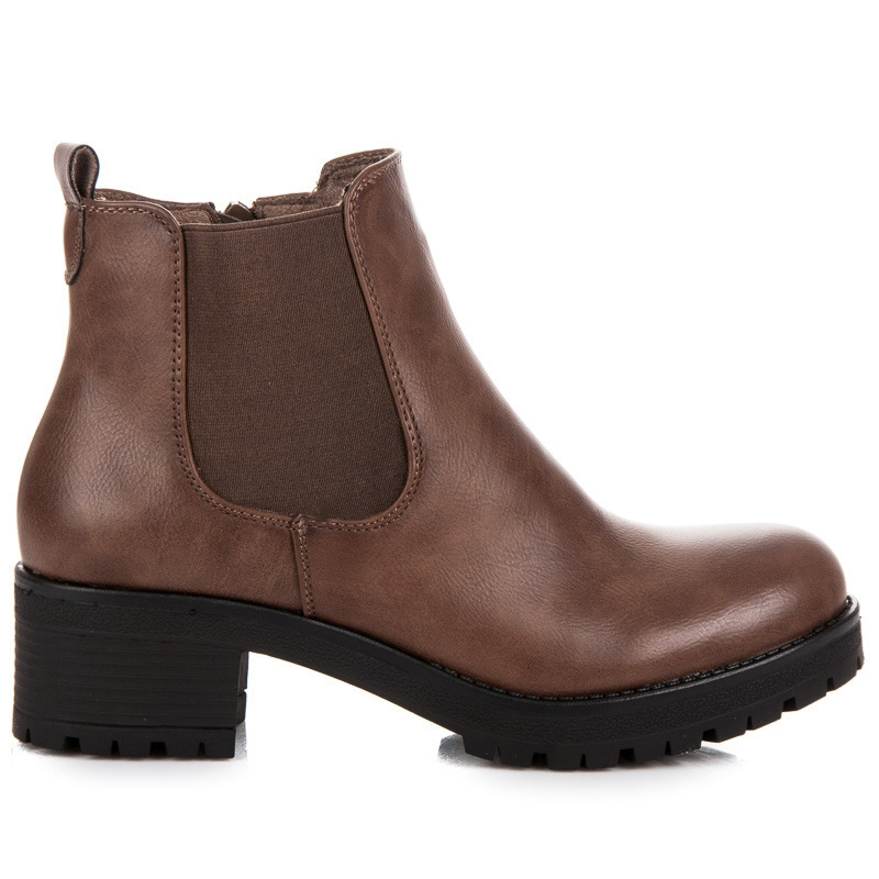 fd2a3305bec1b Dámske hnedé členkové topánky na platforme - B05-1KH   dawien.sk