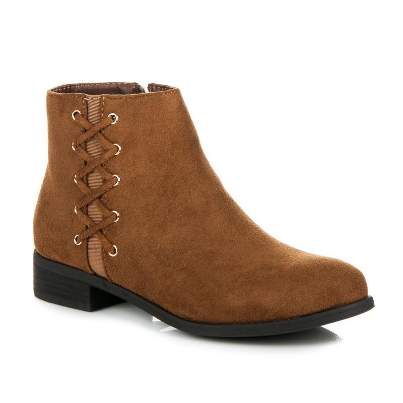 Dámske nízke hnedé členkové topánky - J71C  34d5c306498