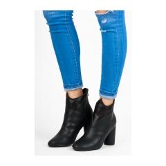 Dámske čierne členkové topánky na stĺpcovom podpätku - 9105-1B-PU