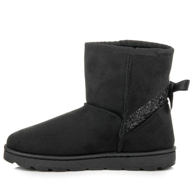 a876418e8f78 Dámske čierne zateplené snehule s brokátom - 8341-1B