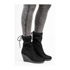 Dámske čierne členkové topánky na kline - HX17-2514B