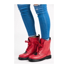 Dámske červené workery so srdiečkom - 6152-19R