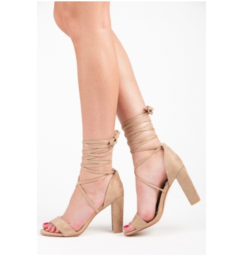 Perfektné béžové sandále s viazaním - 5107KH