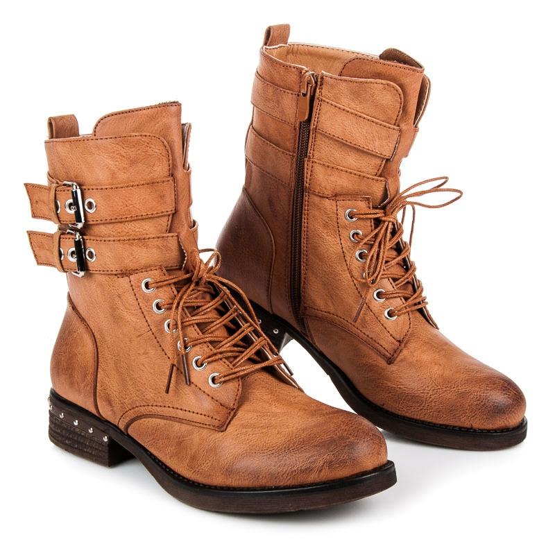 dbb645480382d Dámske hnedé členkové topánky s prackami - 977PA-C   dawien.sk